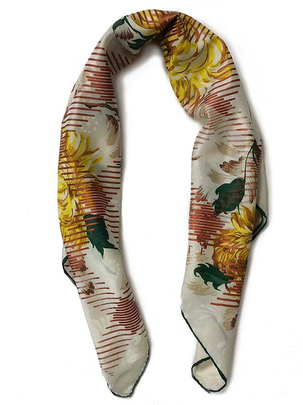 chrysant check carré | handprinted vintage scarf by Atelier Markx