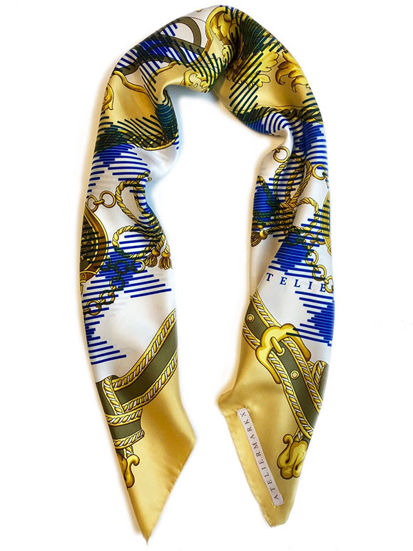 belts check carré | luxury handprinted scarf by Atelier Markx