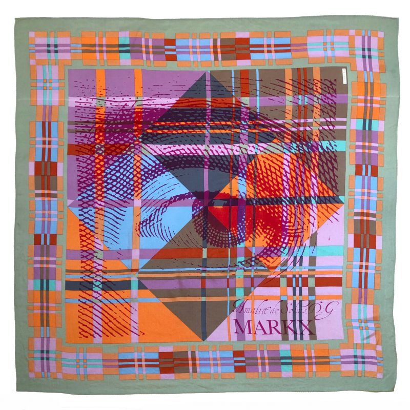 checks eye carré | luxury handprinted scarf by Atelier Markx
