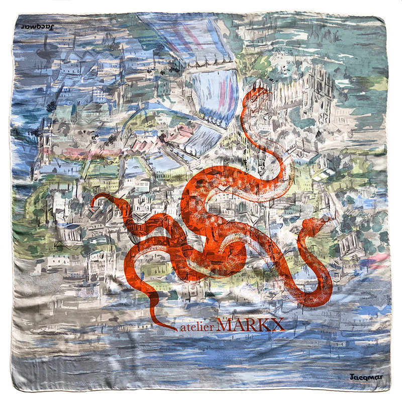 orange serpents carré | luxury handprinted vintage scarf by Atelier Markx