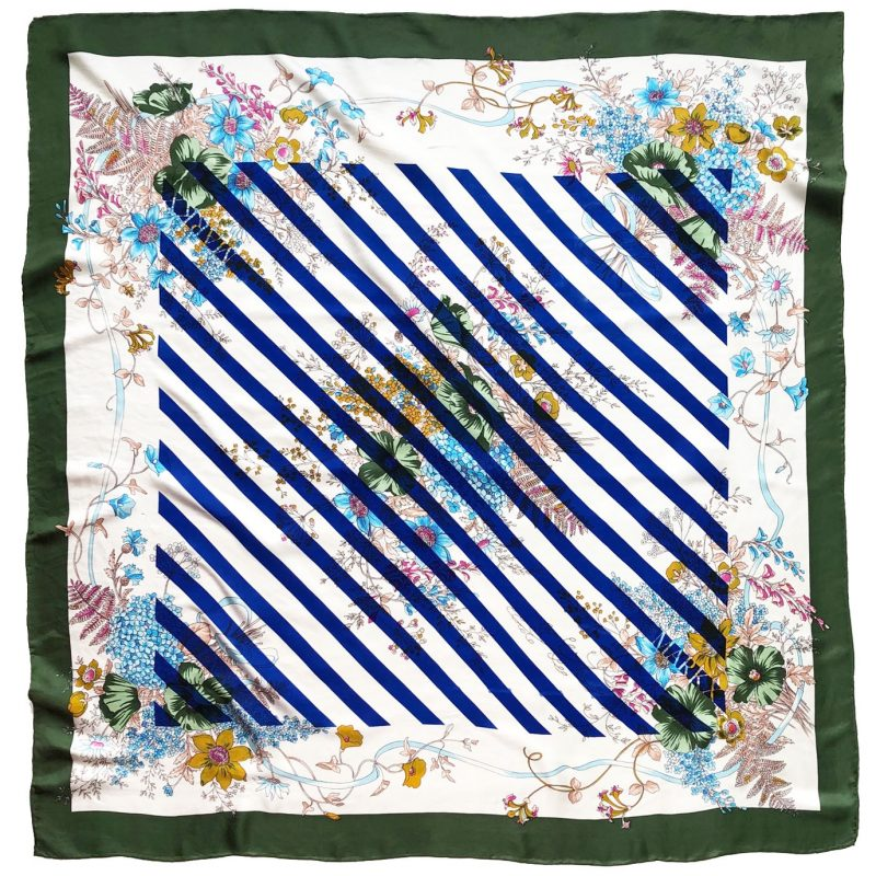 floral stripe carré | handprinted vintage scarf by Atelier Markx