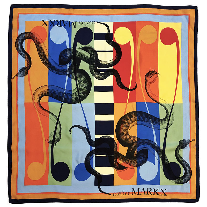 colourblock serpents carré | handprinted vintage scarf by Atelier Markx