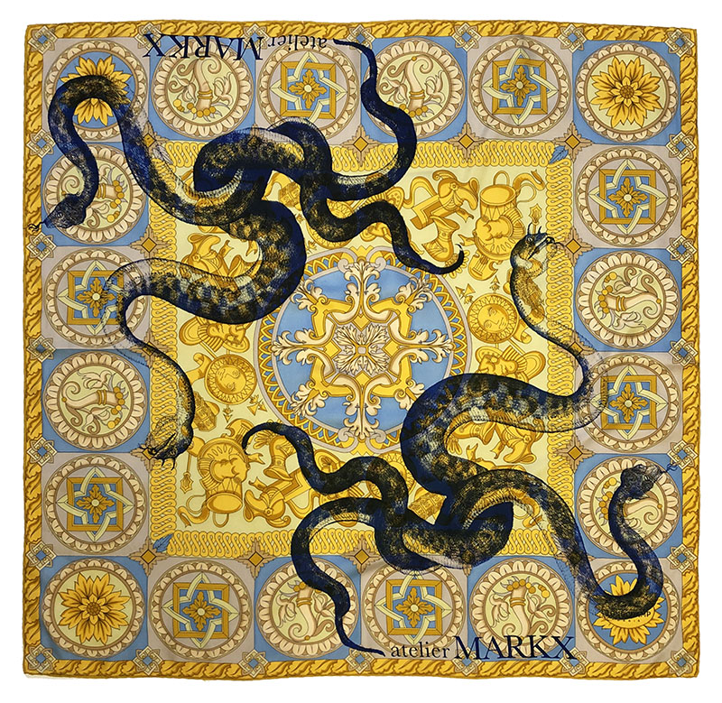 sunny sepent's nest carré | luxury handprinted scarf by Atelier Markx