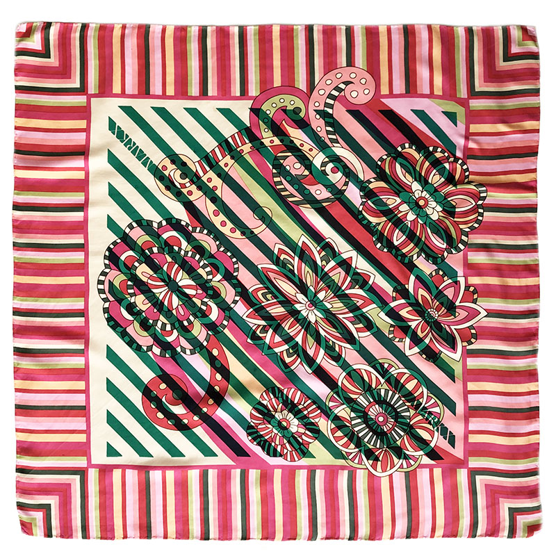 flowers stripe carré | handprinted vintage scarf by Atelier Markx