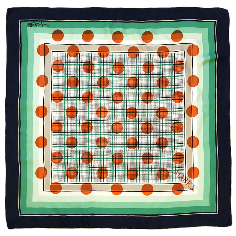 grid dots carré | luxury handprinted scarf by Atelier Markx