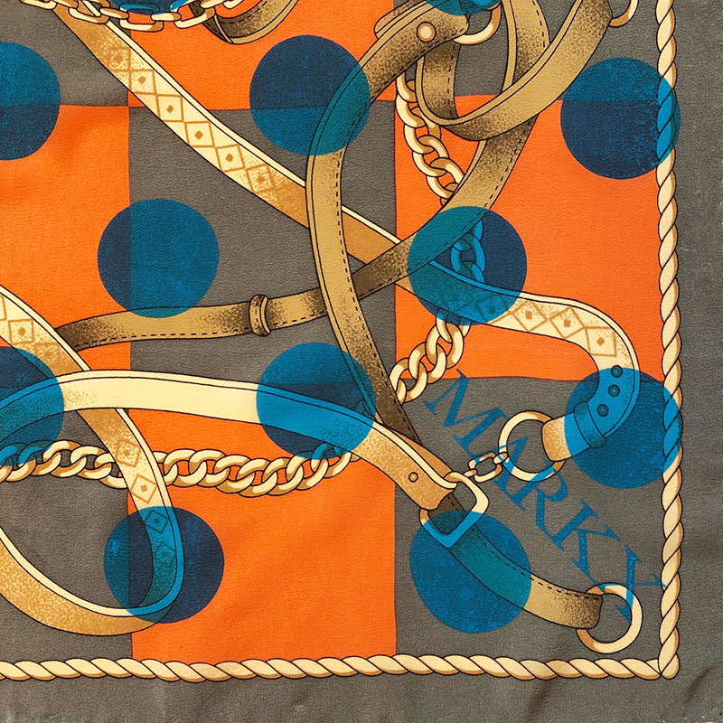 tangled gear pochet | luxury handprinted vintage scarf by Atelier Markx