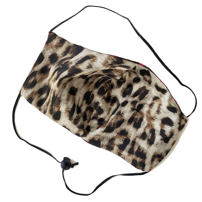 reversible face mask silk pink dots & leopard