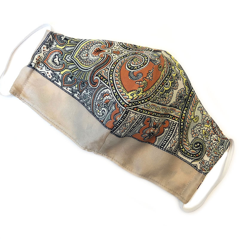 face mask silk border paisley (reversible)| unique silk facecover handmade by Atelier Markx