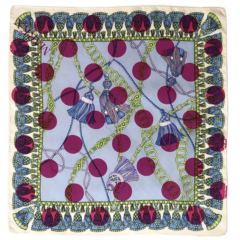 blue tassels pochet | luxury handprinted vintage silk scarf by Atelier Markx