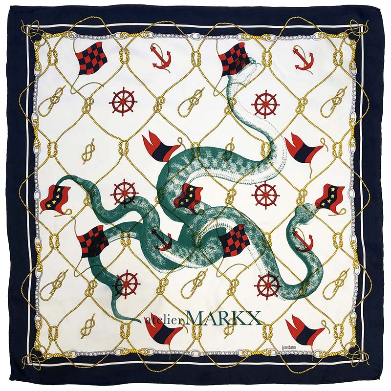 marine carré | luxury handprinted vintage scarf by Atelier Markx